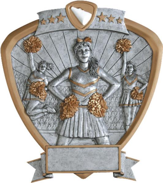 "Cheerleader Standing Shield Resin 8.5"" Tall"