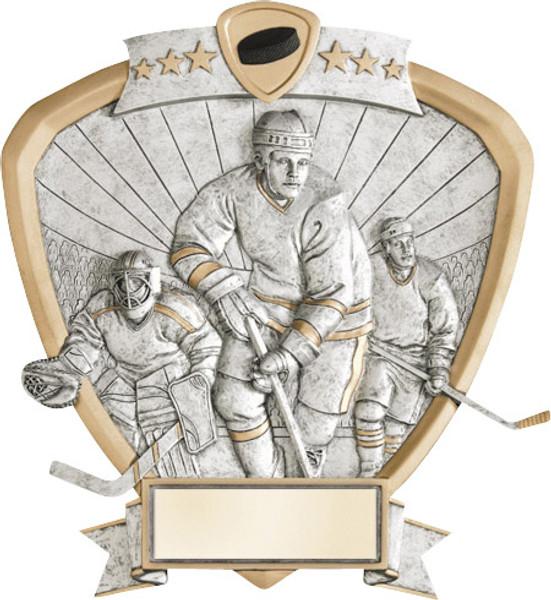 "Hockey Standing Shield Resin 8.5"" Tall"