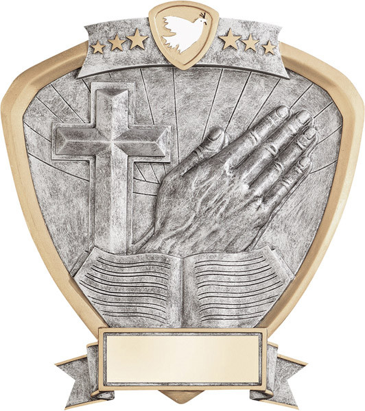 "Religion Praying Hands Cross Bible Standing Shield Resin 8.5"" Tall"