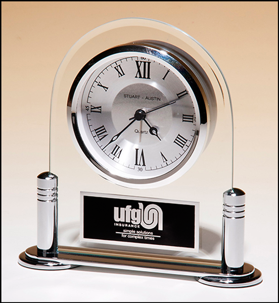 Beveled Glass with Silver Metal Base Clock