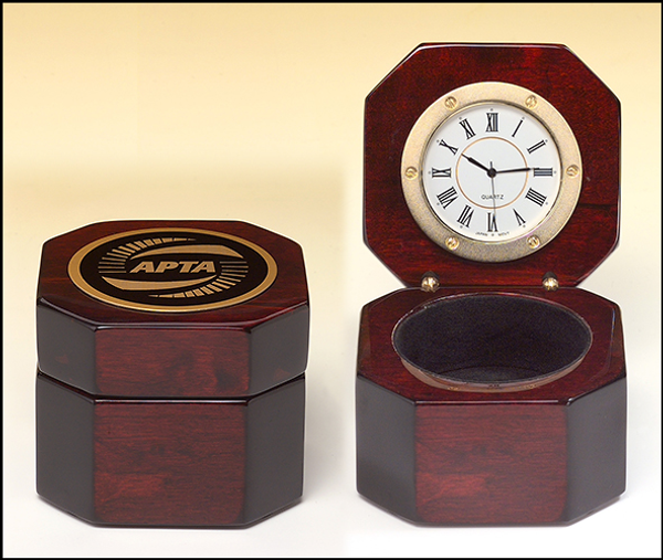 Rosewood Piano-Finish Desktop Clock with Velour Lined Storage