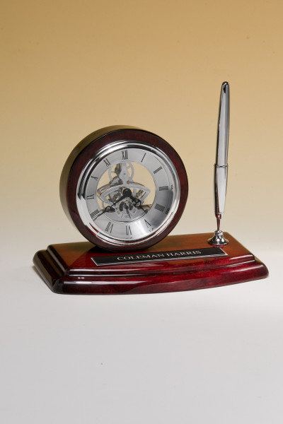 Skeleton Clock with Silver Pen on Rosewood Piano-Finish Case
