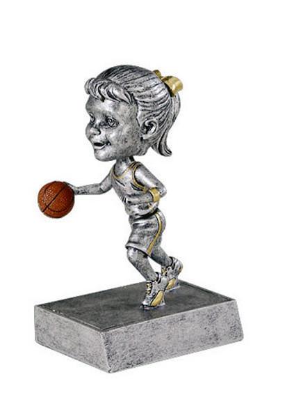 "Basketball Female Bobble Head Resin 5.5"" Tall"