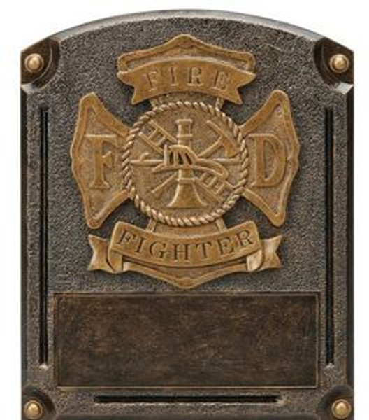 "Fire Fighter Patriotic Legends of Fame Standing Resin Award 8"" Tall"