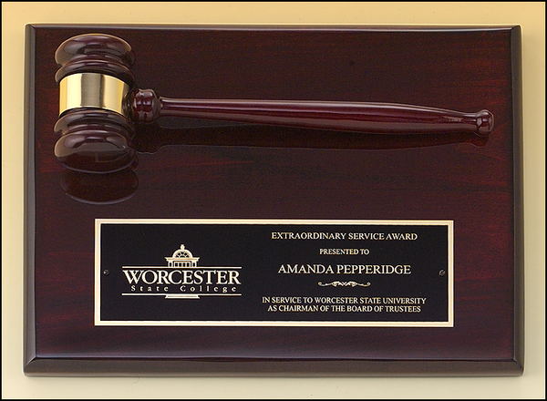 Rosewood Piano Finish Plaque with Gavel Attached