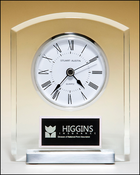 Desk Clock with Beveled Upright, Silver Bezel and Base, Three Hand Movement