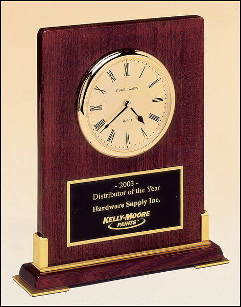 Desktop Clock Rosewood Piano Finish Wood with Gold Metal Accents