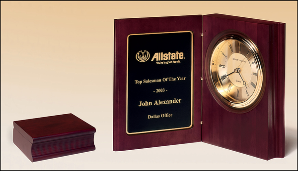 Large Book Clock Hand Rubbed Rich Mahogany Finish Diamond Spun Dial with Three Hand Movement