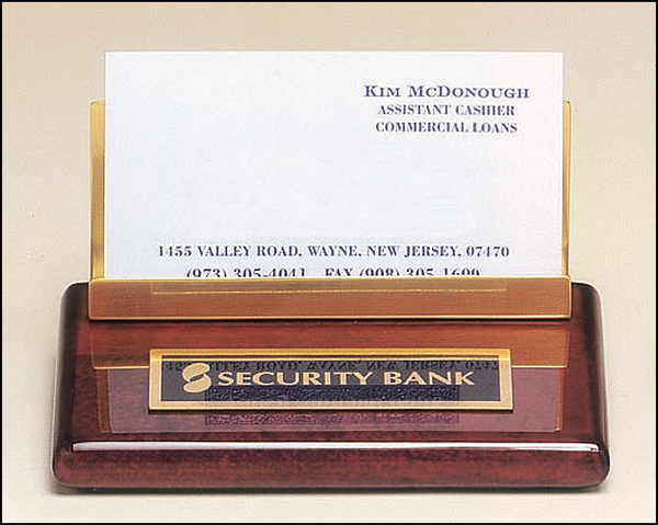 Business Card Holder in Rosewood Piano Finish with Gold Accents