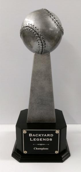"Fantasy Baseball Championship Series Baseball Trophy on Black Wood Base 18.25"" Tall"