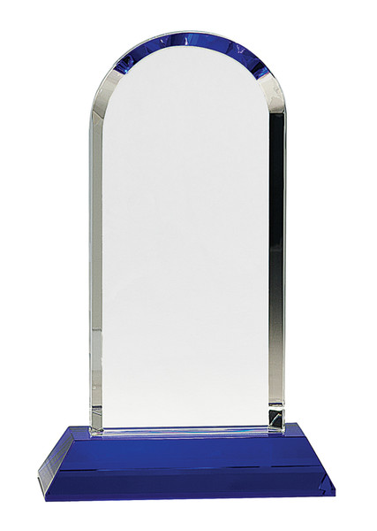 "Clear Crystal Dome on Blue Pedestal Base 9.25"" Tall"