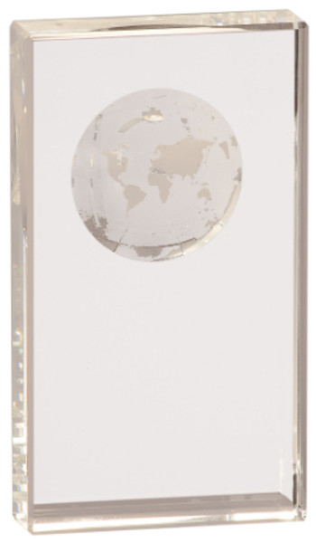 """Clear Crystal Rectangle with World Globe Etching 7"""" Tall"""