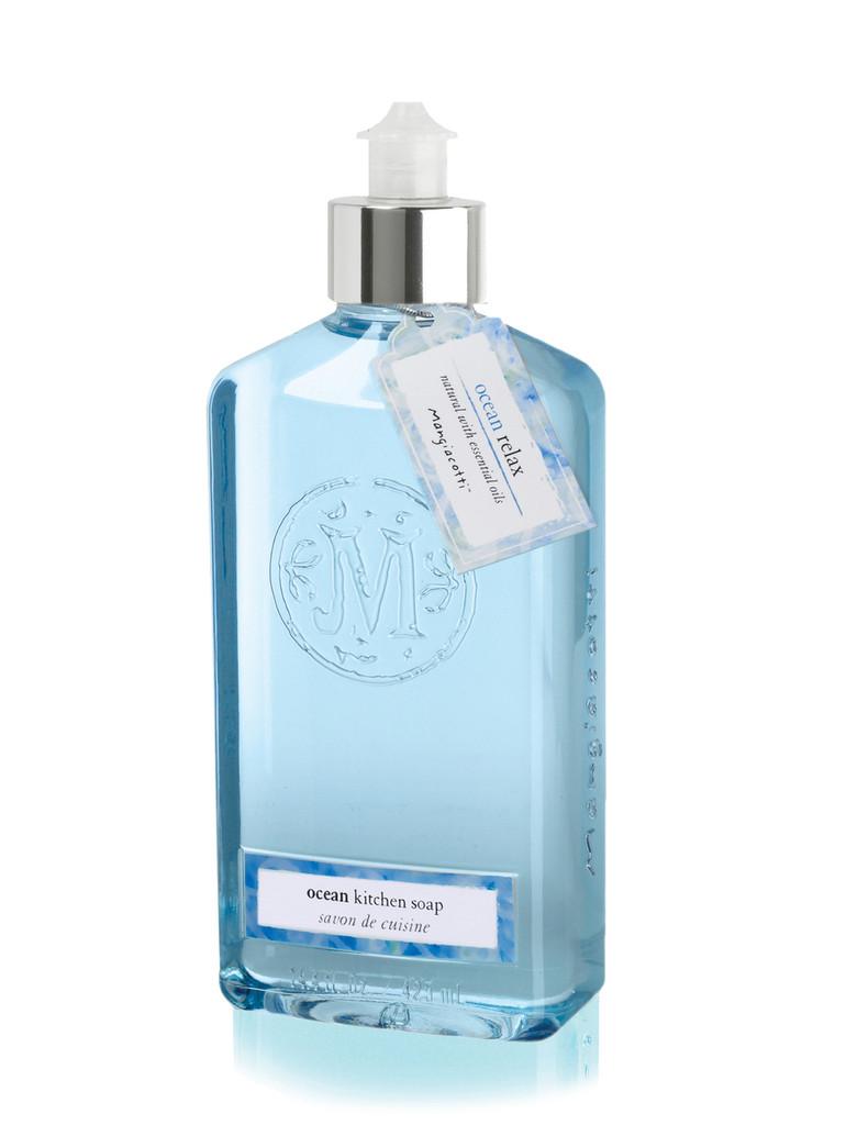 Bottle with click spout holding  blue kitchen soap