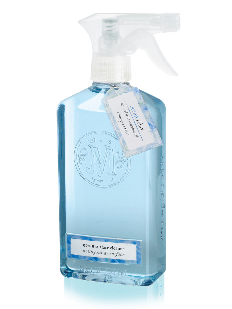 Bottle with spray top and blue liquid cleaner