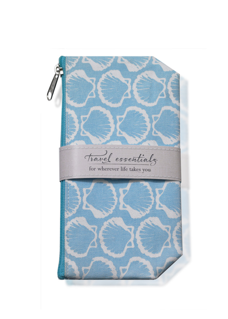 Blue wipeable cosmetic bag with white shell design