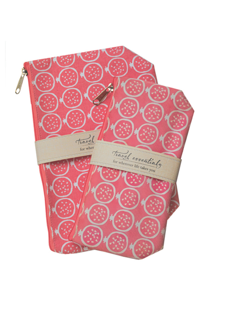 Pomegranate Travel Essential Cosmetic Bags (set of 2)