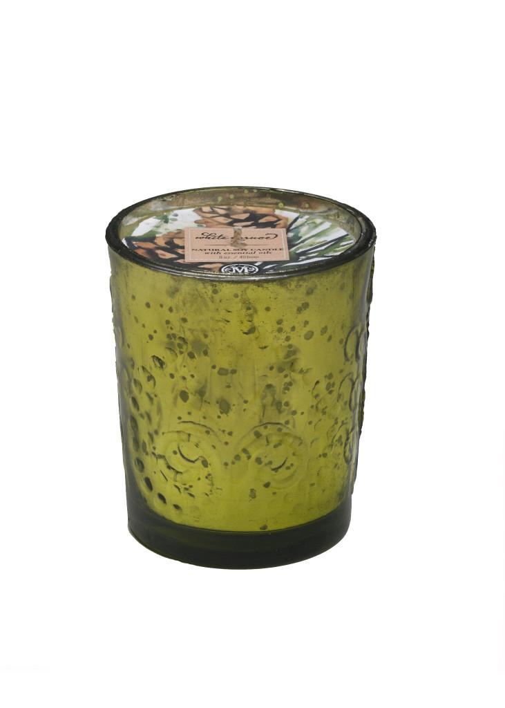 White Spruce Natural Soy Candle in Mercury Glass-8 oz. fleur de lis design