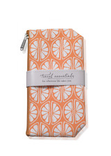 Orange zippered cosmetic bag with white print
