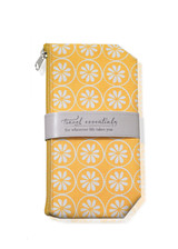 Yellow wipeable cosmetic bag with white citrus design