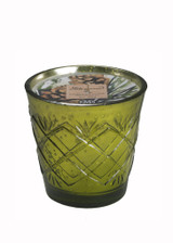 White Spruce Natural Soy Candle in Mercury Glass-12 oz. criss cross design