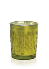 Green Mercury Glass Candle with raised striped design