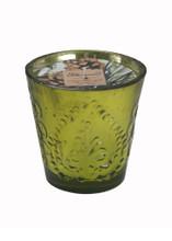 White Spruce Natural Soy Candle in Mercury Glass-12 oz. fleur de lis design
