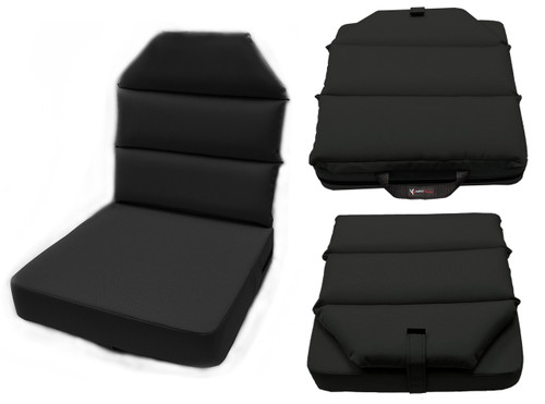 Aero Phoenix Seat Cushion triple view in black  / SkySupplyUSA