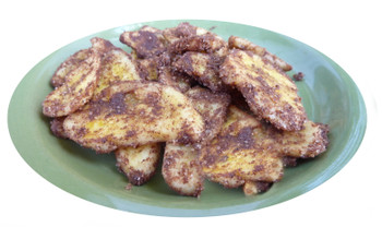 Plantain chips dusted with sweetened dark cocoa and peanut butter