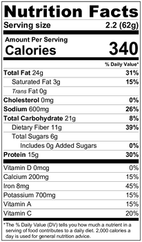Pesto Herbilicious Nutrition Label