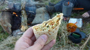 Backpacking Breakfast Burrito! Made with Dehydrated Organic Eggs and Veggies