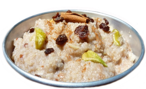 High Elevation Rice Cereal made with Organic Brown Rice Farina, Apples, Raisins and Spices