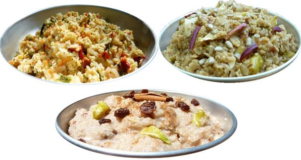 Hot Breakfast Sampler - Denver Veggie Scramble, Apple Quinoa Oatmeal, High Elevation Hot Rice Cereal