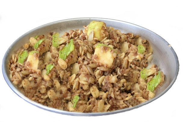 Organic baked quinoa, rolled oats, apples, seeds, and nuts.