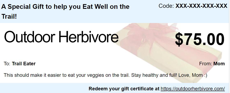 outdoor herbivore gift certificate