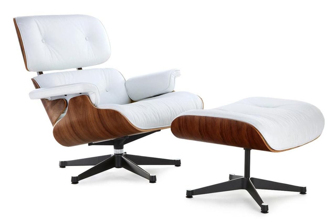 Eames Lounge Chair Replica White With A Black Base Manhattan Home