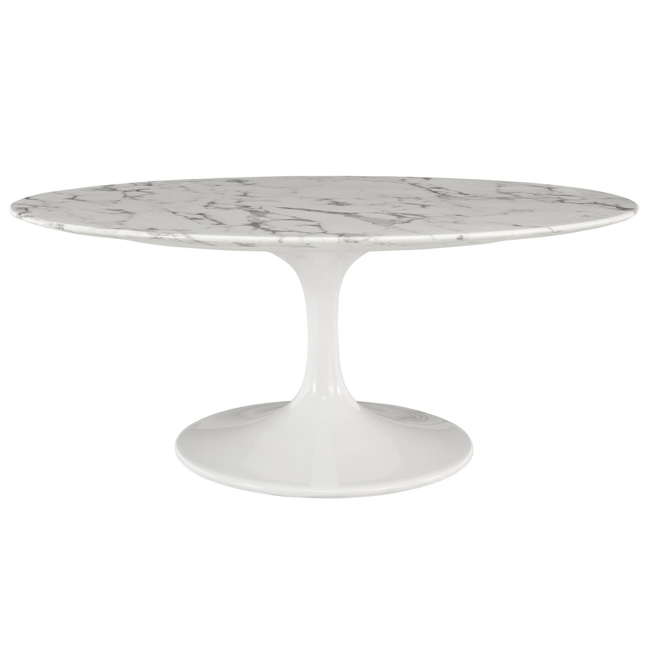 "Lippa 42"" Oval-Shaped Artificial Marble Coffee Table"