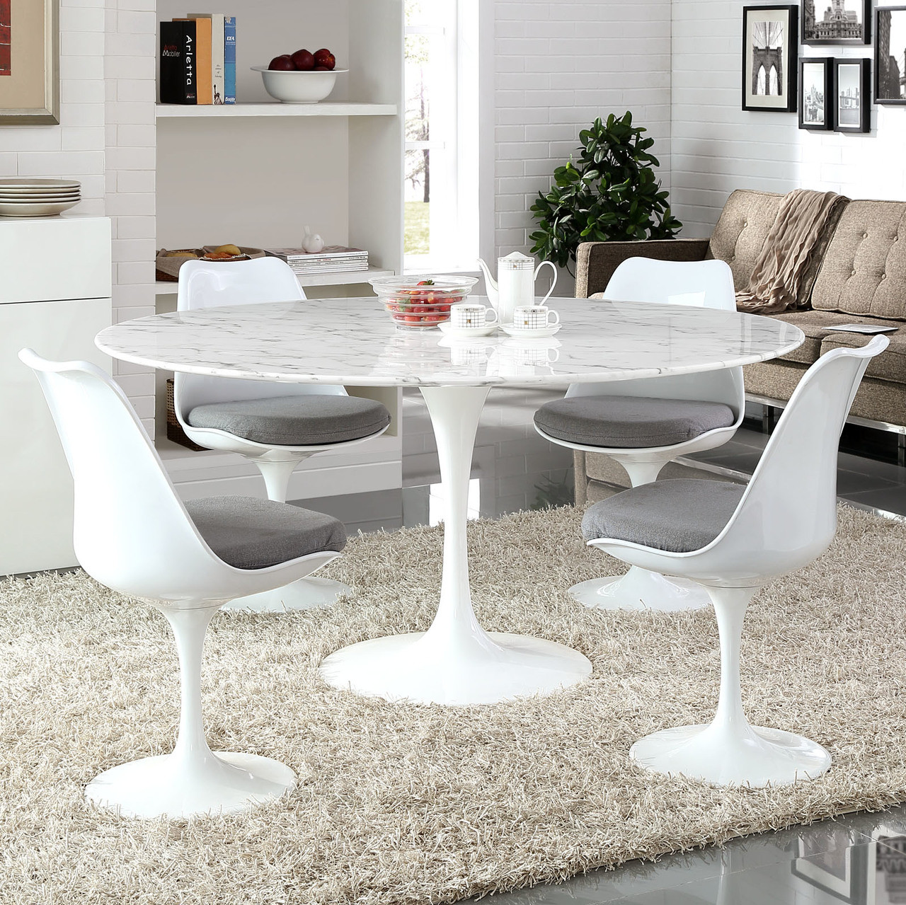 """Lippa 60"""" Round Artificial Marble Dining Table"""