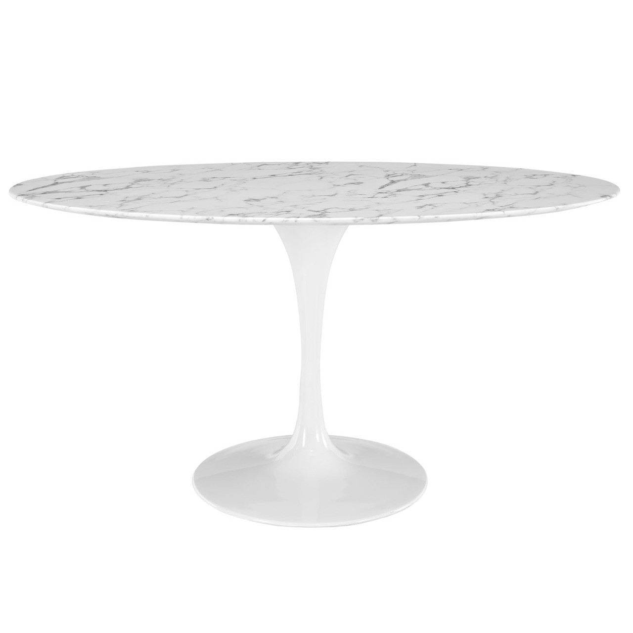 """Lippa 60"""" Oval Artificial Marble Dining Table"""
