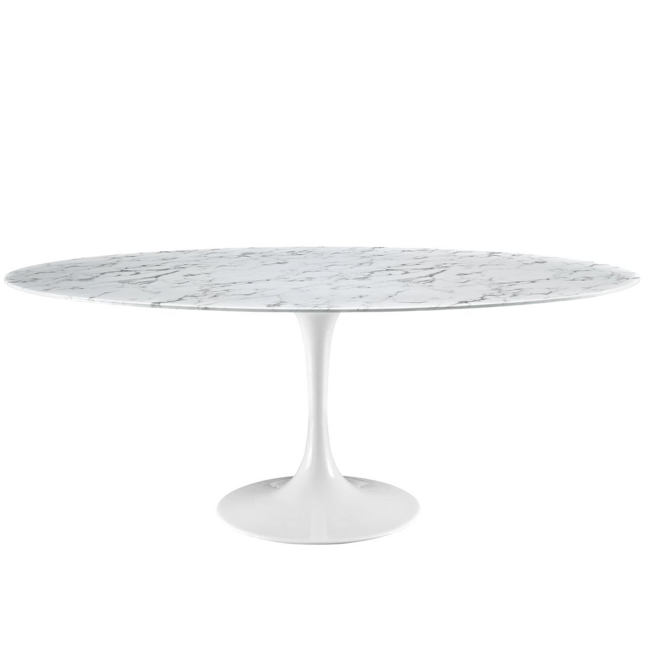 """Lippa 78"""" Oval Artificial Marble Dining Table"""