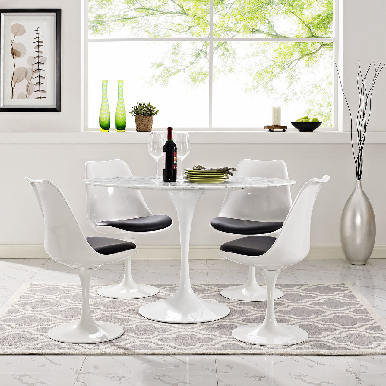 """Lippa 48"""" Oval Artificial Marble Dining Table"""