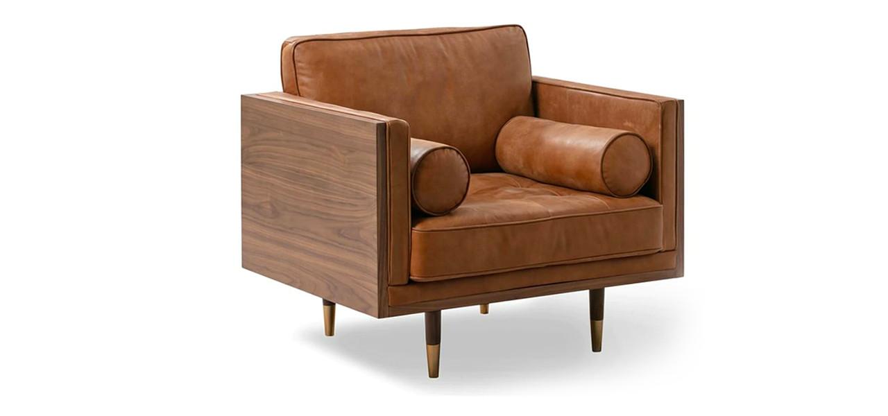 Woodrow Box Skandi Arm Chair Leather