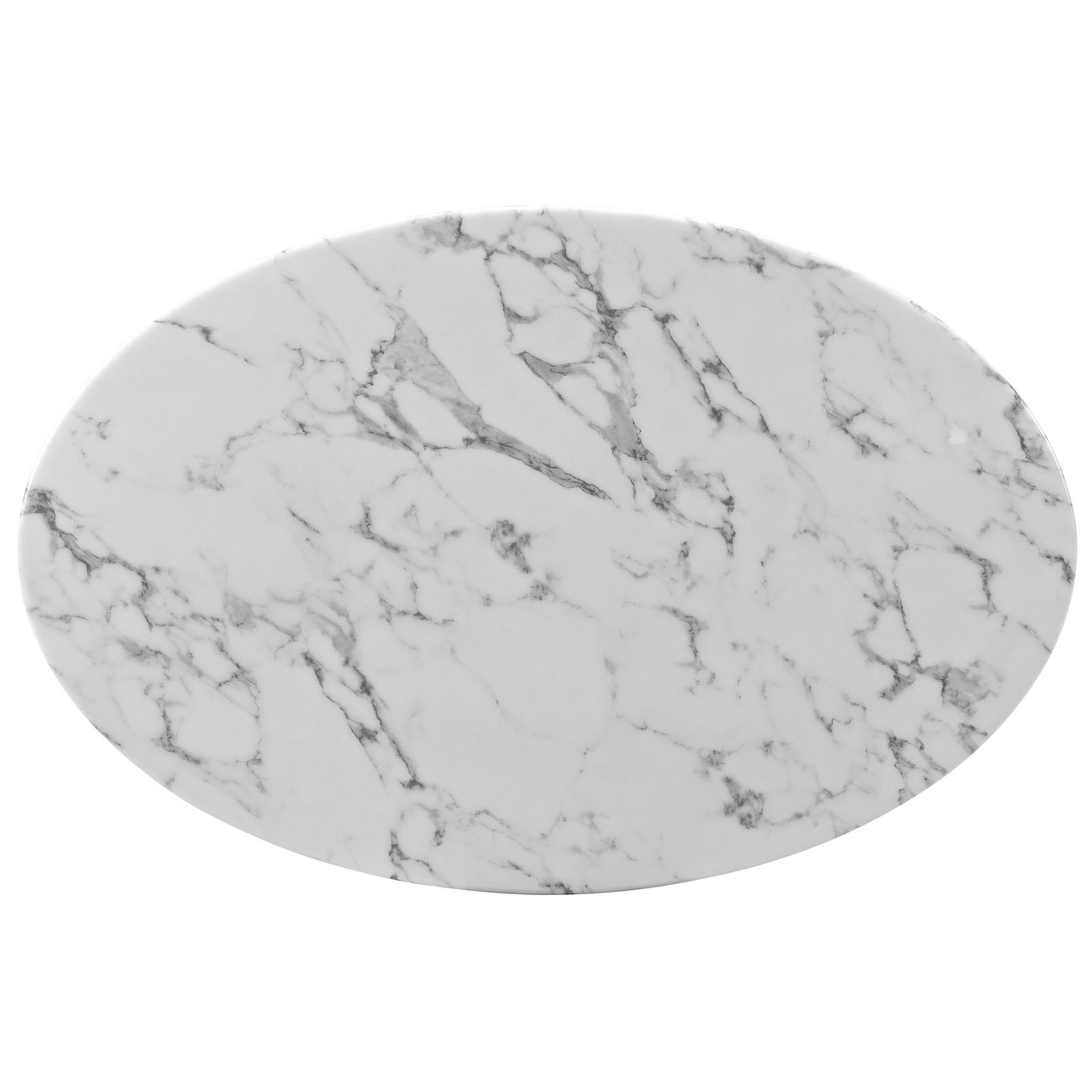 """Lippa 42"""" Oval-Shaped Artificial Marble Coffee Table"""