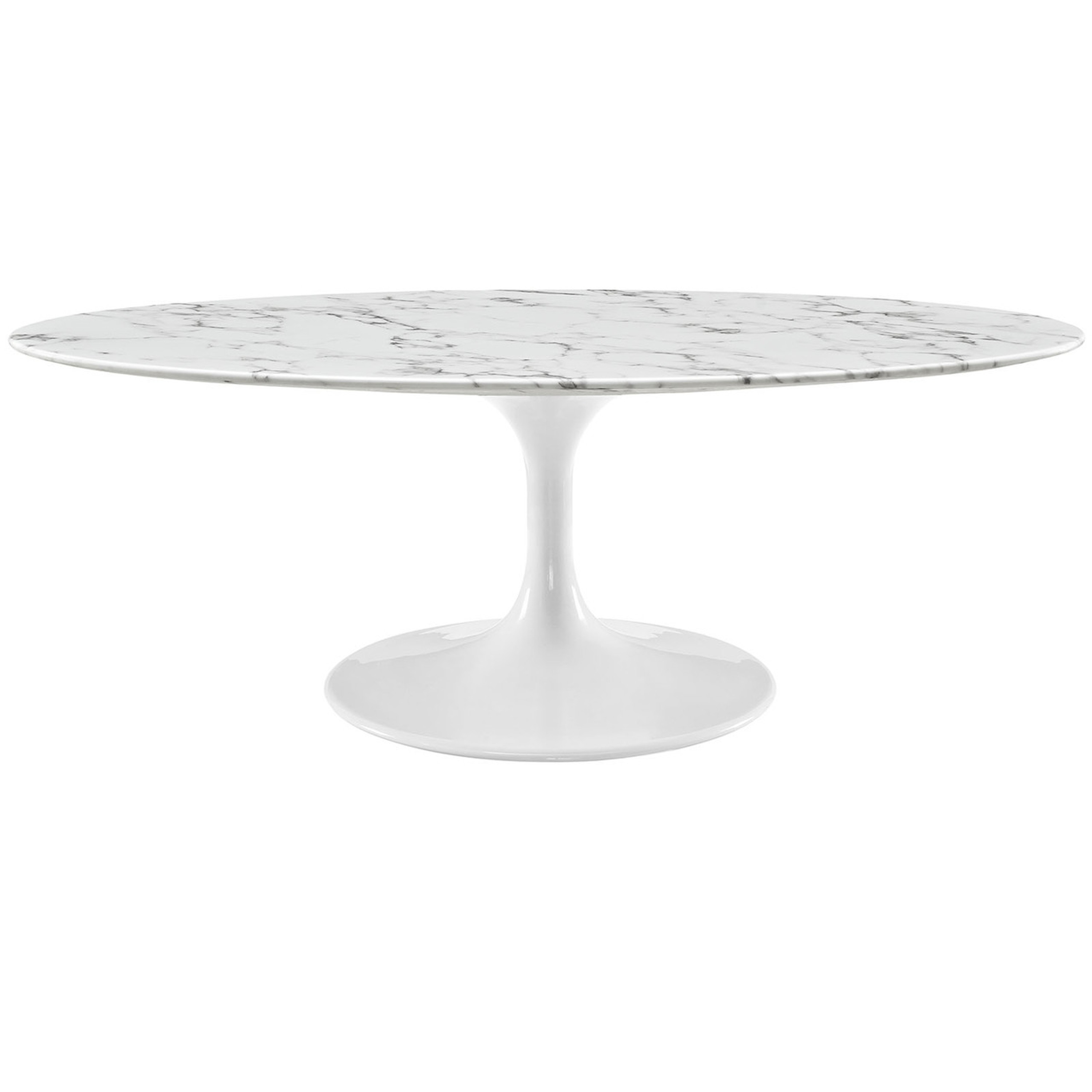 """Lippa 48"""" Oval-Shaped Artificial Marble Coffee Table"""