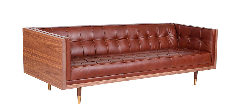 "Woodrow Box 87"" leather Sofa"