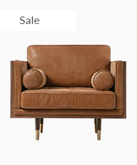 Woodrow Box Skandi Arm Chair Leather Sofa