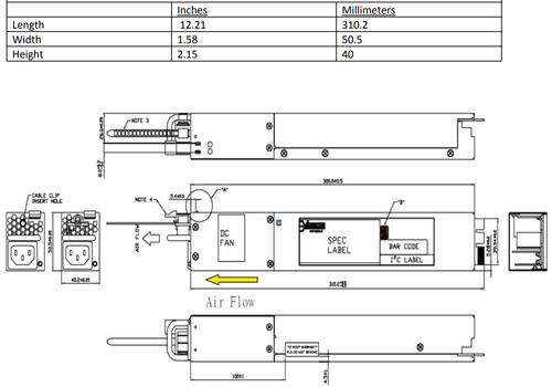 EDGECORE YM‐2651YBR Front to back airflow with 650 Watt PSU: AC Input