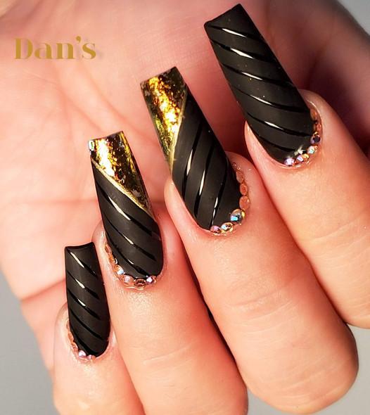 Black gel polish nail design