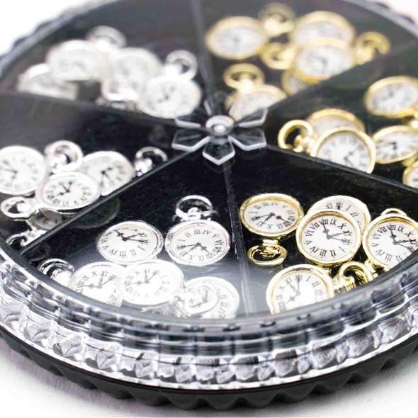 30Pcs Fashion Vintage 3D Clock Design Nail Art Decoration Charm Alloy Nail DIY Accessories