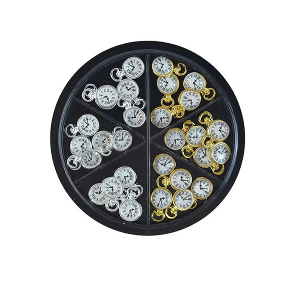 30Pcs Fashion 3D Clock Design Nail Art Decoration Charm Alloy Nail DIY Crafts Accessories