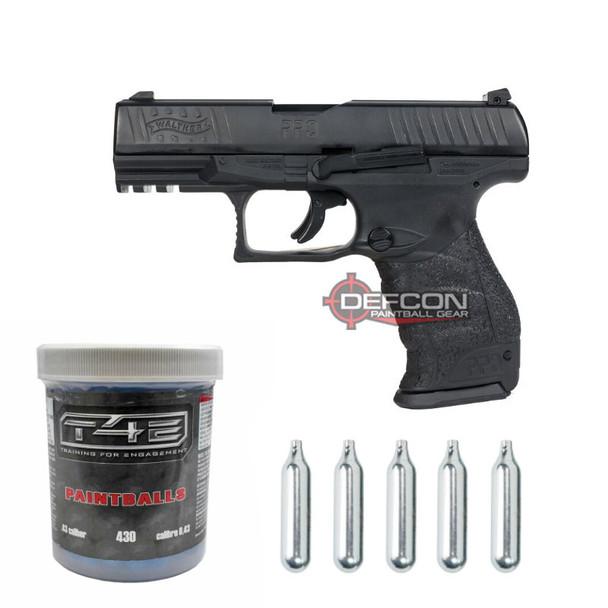 Umarex T4E Walther PPQ .43cal Paintball Pistol / Black - Bundle